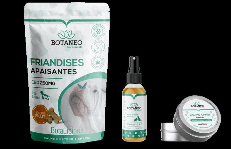 Gamme produit Botaneo (Friandises CBD, Spray CBD, Baume CBD) pour chiens & chats